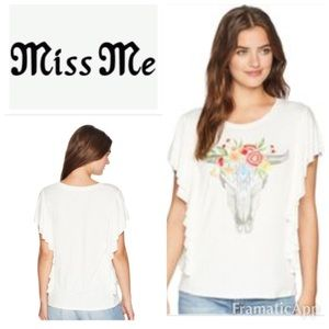 🆕MISS ME Bull Skull Embroidered Top